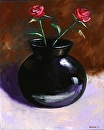 """Roses in a Black Vase Still Life Oil Painting by Northern California Artist Mark Webster by Mark Webster Oil ~ 10"""" x 8"""""""