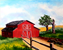 "Barn Landscape Oil Painting by Northern California Artist Mark Webster by Mark Webster Oil ~ 8"" x 10"""