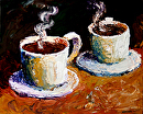 "Palette Knife Coffee Cups Acrylic Painting 11.14.10 by Northern California Artist Mark Webster by Mark Webster Acrylic ~ 8"" x 10"""