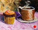 "Palette Knife Coffee Cup and Cupcake Acrylic Painting by Northern California Artist Mark Webster by Mark Webster Acrylic ~ 8"" x 10"""