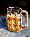 "Beer Mug Palette Knife Oil Painting by Northern California Artist Mark Webster by Mark Webster Oil ~ 10"" x 8"""