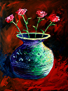 "Large Abstract Roses in Vase Painting by Northern California Artist Mark Webster by Mark Webster Acrylic ~ 40"" x 30"""