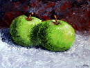 "Green Apples Still Life Palette Knife Oil Painting by Northern California Artist Mark Webster by Mark Webster Oil ~ 6"" x 8"""