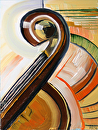 "Abstract Cello Oil Painting by Northern California Artist Mark Webster by Mark Webster Oil ~ 8"" x 6"""
