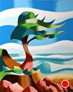 "Abstract Rough Futurism Cypress Tree Coastal Landscape Oil Painting by Mark Webster Oil ~ 10"" x 8"""