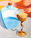 "Abstract Wine Glass and Decanter Oil Painting by Northern California Artist Mark Webster by Mark Webster Oil ~ 10"" x 8"""