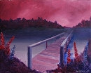 """Bridge to Nowhere Acrylic Landscape Painting by Northern California Artist Mark Webster by Mark Webster Acrylic ~ 8"""" x 10"""""""