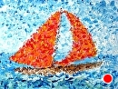 "Mark Webster - Northern California Artist - Abstract Sailboat Acrylic Painting by Mark Webster Acrylic ~ 9"" x 12"""