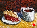 """Mark Webster - Impressionist Cherry Pie with Coffee Acrylic Still Life Painting by Mark Webster Acrylic ~ 9"""" x 12"""""""