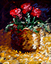 "Abstract Electric Roses Acrylic Still Life Painting by Northern California Artist Mark Webster by Mark Webster Acrylic ~ 10"" x 8"""