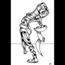 "Becca 208-08 - Abstract Nude Figurative Ink Drawing by Artist Mark Webster by Mark Webster Ink ~ 9"" x 6"""