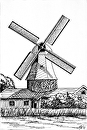 "Windmill Landscape Pen and Ink Drawing by Northern California Artist Mark Webster by Mark Webster Ink ~ 9"" x 6"""