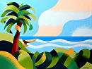 """Rough Futurist Cape Town Coast with Palm Tree Oil Painting by Mark Webster by Mark Webster Oil ~ 9"""" x 12"""""""