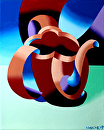 "Futurist Abstract Teapot Oil Painting by Northern California Artist Mark Webster by Mark Webster Oil ~ 10"" x 8"""
