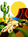 Mark Webster - Abstract Futurist Soutwestern Desert Landscape Oil Painting by Mark Webster  ~ 40 x -