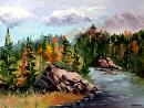 "Forest River Landscape Oil Painting by Artist Mark Webster. by Mark Webster Oil ~ 9"" x 12"""