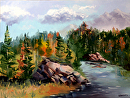 "Forest River Landscape Oil Painting by Artist Mark Webster. by Mark Webster Oil ~ 9"" x 12"""