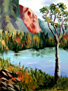 """Mountain Lake Landscape Oil Painting by Artist Mark Webster by Mark Webster Oil ~ 10"""" x 8"""""""