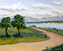 "Princess Vlei Lake - Cape Town - South Africa Oil Painting by Artist Mark Webster by Mark Webster Oil ~ 8"" x 10"""