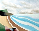 """Rough Futurist Coastal Landscape Oil Painting by Northern California Artist Mark Webster by Mark Webster Oil ~ 8"""" x 10"""""""