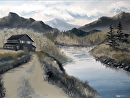 """Mark Webster - Mountain Landscape Grayscale Oil Painting by Mark Webster Oil ~ 9"""" x 12"""""""