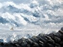"""Stormy Weather - Ocean Landscape Grayscale Oil Painting by Artist Mark Webster by Mark Webster Oil ~ 8"""" x 10"""""""
