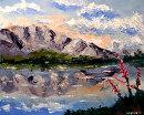 """Palette Knife Mountain Lake Oil Painting by Northern California Artist Mark Webster by Mark Webster Oil ~ 8"""" x 10"""""""