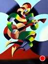 """Abstract Guitar Player Oil Painting by Northern California Artist Mark Webster by Mark Webster Oil ~ 12"""" x 9"""""""