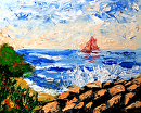 """Seascape Abstract Palette Knife Painting by Northern California Artist Mark Webster by Mark Webster Acrylic ~ 8"""" x 10"""""""
