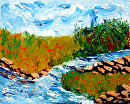 """River Landscape Abstract Palette Knife Painting by Northern California Artist Mark Webster by Mark Webster Acrylic ~ 8"""" x 10"""""""