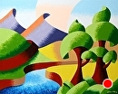 "Mark Webster - Abstract Rough Futurist Oak Tree Mountains Oil Painting by Mark Webster Oil ~ 8"" x 10"""