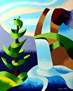 "Abstract Waterfall with Pine Tree Landscape Oil Painting by Mark Webster Oil ~ 10"" x 8"""