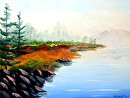 "Mark Webster - Untitled Mountain Lake Landscape Oil Painting by Mark Webster Oil ~ 6"" x 8"""