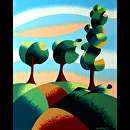 "Mark Webster - Three Trees - Abstract Landscape Oil Painting by Mark Webster Oil ~ 10"" x 8"""