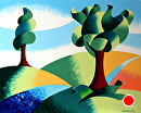 "Mark Webster - Two Trees - Abstract Landscape Oil Painting by Mark Webster Oil ~ 8"" x 10"""