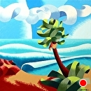 "Mark Webster - Abstract Coastal Landscape Oil Painting with Palm Tree by Mark Webster Oil ~ 10"" x 10"""