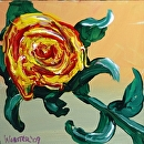 """Yellow Flower Painting Experiment by Artist Mark Webster by Mark Webster Acrylic ~ 6"""" x 6"""""""