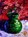 "Mark Webster - Roses in Vase Still Life - Abstract Acrylic Painting by Mark Webster Acrylic ~ 24"" x 18"""