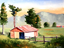 "Mark Webster - New Zealand Landscape with Barn Oil Painting - Virtual Paintout by Mark Webster Oil ~ 9"" x 12"""