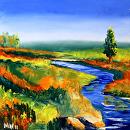 """Mark Webster - Untitled Landscape Oil Painting by Mark Webster Oil ~ 6"""" x 6"""""""