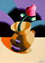 "Mark Webster - Rough Futurist Rose in Vase Still Life Oil Painting by Mark Webster Oil ~ 7"" x 5"""