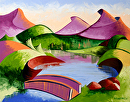 Abstract Geometric Mountain Bridge Landscape Oil Painting by Mark Webster Oil ~ 8 x 10