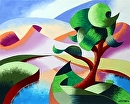 """Abstract Geometric Mountain River Landscape Oil Painting by Artist Mark Webster by Mark Webster Oil ~ 8"""" x 10"""""""