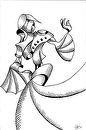 "Geometric Abstract Woman in Dress Figurative Ink Drawing by Mark Webster Ink ~ 9"" x 6"""