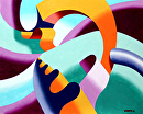 The Modern Landscape 2.0 Abstract Geometric Oil Painting by Mark Webster  ~ 8 x -