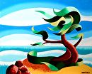 "Abstract Geometric Landscape Oil Painting - Cypress Tree Seascape #3 by Mark Webster Oil ~ 8"" x 10"""