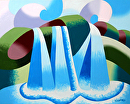 """Abstract Geometric Waterfall Landscape Oil Painting by Mark Webster Oil ~ 8"""" x 10"""""""
