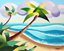 "Abstract Geometric Palm Trees on the Beach Seascape - Landscape Oil Painting by Mark Webster Oil ~ 8"" x 10"""