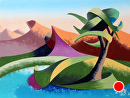 "Abstract Geometric Mountain River Landscape Oil Painting by Mark Webster Oil ~ 6"" x 8"""