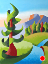 "Abstract Geometric Pine Tree Landscape Oil Painting by Mark Webster Oil ~ 8"" x 6"""
